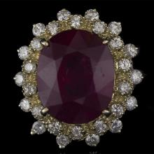 14K GOLD RING W/ 8.58ct. RUBY & 1.48ct. WHITE DIA
