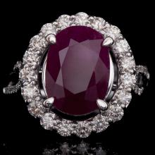 14K GOLD RING W/ 5.13ct. RUBY & 0.97ct. WHITE DIA