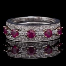 14K GOLD RING W/ 0.85ct. RUBY & 0.27ct. WHITE DIA