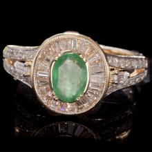 14K GOLD RING W/ 0.82ct. EMERALD & 1.10ct. WHITE DIA