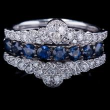 14K GOLD RING W/ 1.00ct. BLUE SAPPHIRE & 0.45ct. WHITE