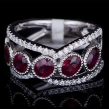 18K GOLD RING W/ 2.16ct. RUBY & 0.36ct. WHITE DIA