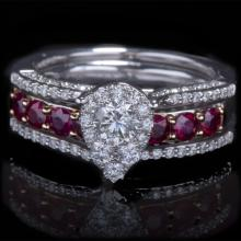 14K GOLD RING W/ 1.00ct. RUBY & 0.85ct. WHITE DIA