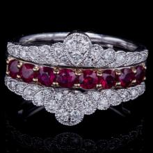 14K GOLD RING W/ 1.00ct. RUBY & 0.45ct. WHITE DIA