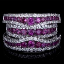 18K GOLD FASHION RING W/ 2.00ct. RUBY & 1.07ct. WHITE