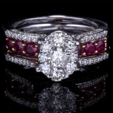 14K GOLD RING W/ 1.00ct. RUBY & 1.05ct. WHITE DIA