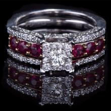 14K GOLD RING W/ 1.00ct. RUBY & 0.75ct. WHITE DIA