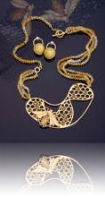 Honeycomb Necklace with Earrings
