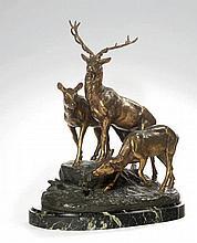 MASSON Jules Edmond (1871-1932) Cerf et biches