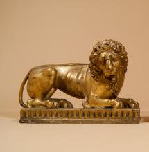 PAIR of Carved and Giltwood Lions