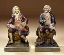 A Pair of 19th-century Painted Plaster Figures of Voltaire & Rousseau