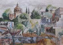 George Grammer (Am. 20th Cent.) watercolor painting of San Miguel de Allende, Mexico