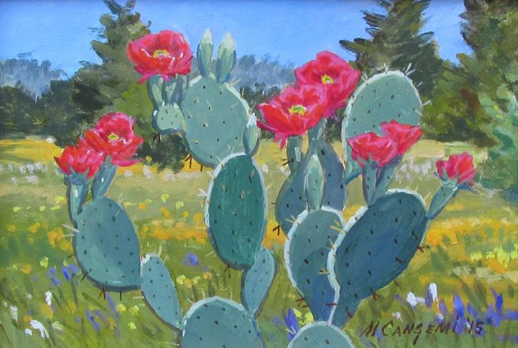 Michael Cangemi (Am. 20th Cent.) acrylic painting of  Prickly Pear Cactus with red blossoms