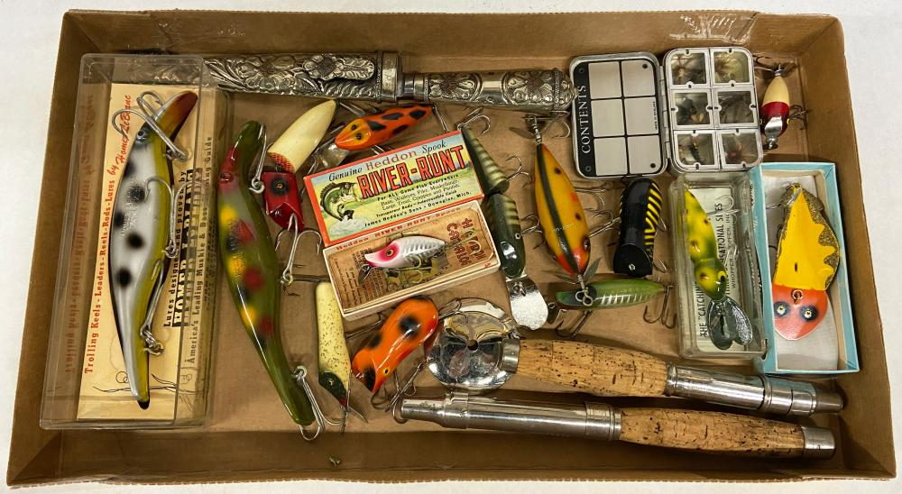 Lot of Vintage Fishing Lures, Flies, Fishing Knife