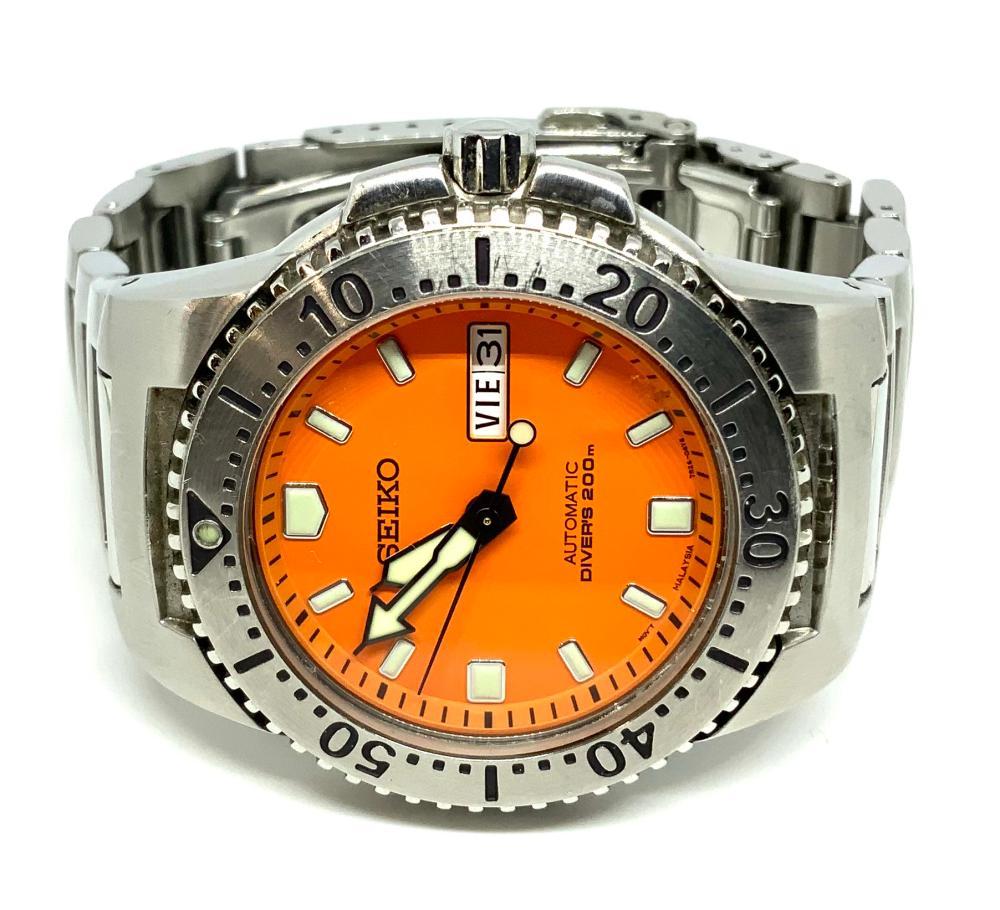 Orange Face Seiko Automatic Diver's Watch, 200m.