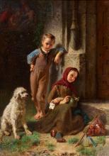 TILL, JOHANN II: Bettelkinder mit Hund am Kirchenportal.