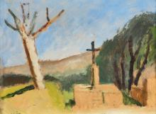 SAVIN, MAURICE LOUIS: Sonnige Landschaft mit Kreuz.
