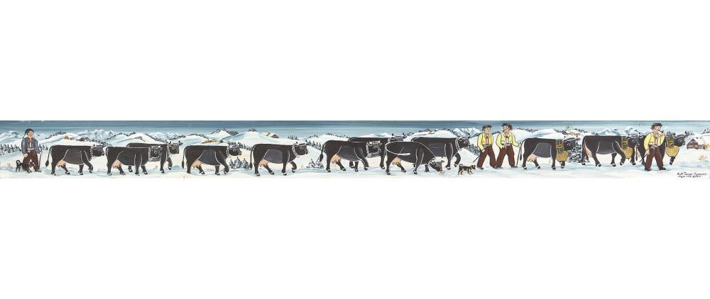 TANNER, RUTH: Appenzeller Bauern mit Kühen in Winterlandschaft.