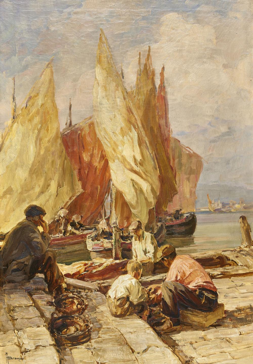 BROMBO, ANGELO: Sitzende Fischer am Ufer.