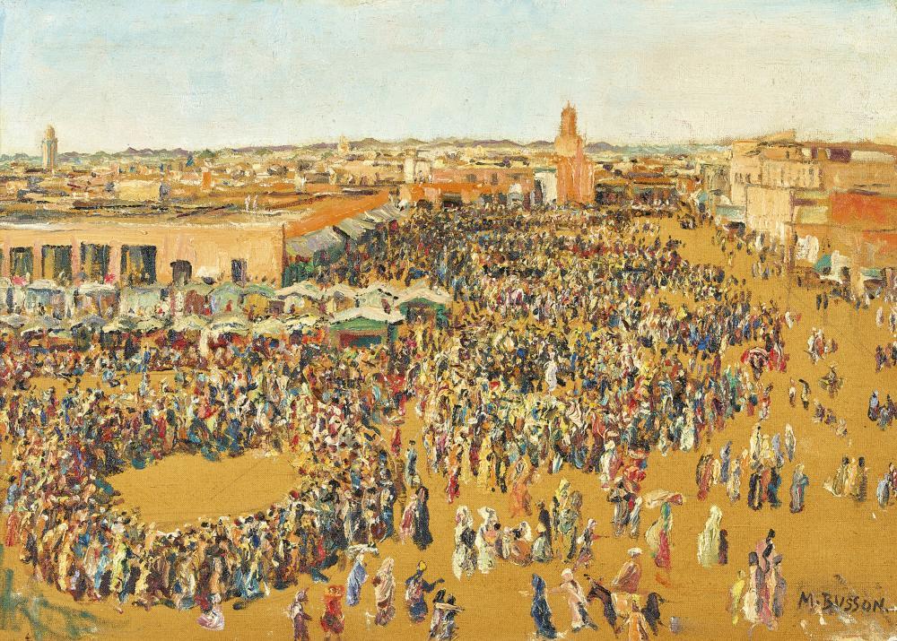 BUSSON, MARCEL: Der Djemaa el Fna in Marrakesch.