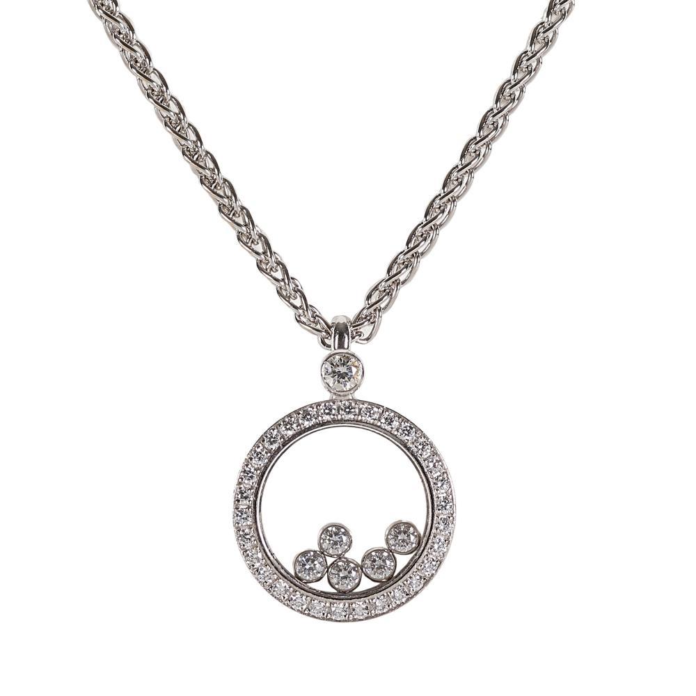 BRILLANT-ANHÄNGER MIT KETTE: Chopard, Happy Diamonds. / Diamond pendant necklace