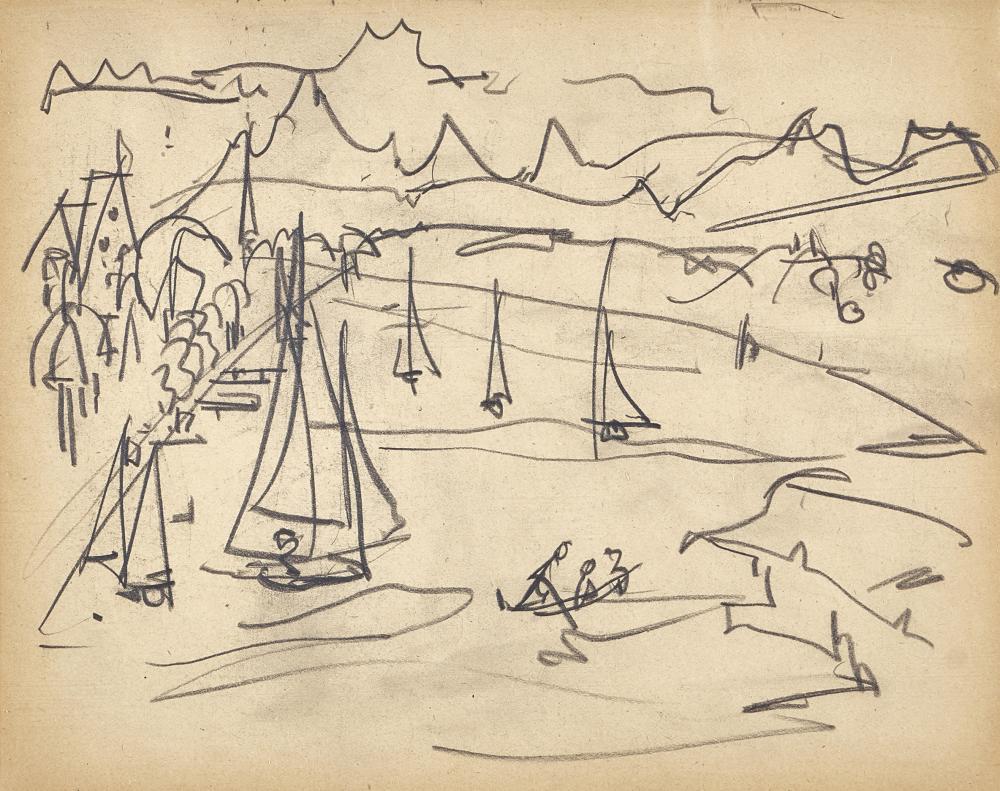 MÜLLER, ALBERT: See mit Segelschiffen und Ruderboot.