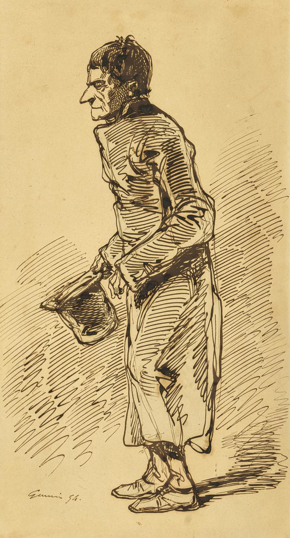 GAVARNI, PAUL (EIGTL. CHEVALIER, SULPICE GUILLAUME): Karikatur eines Herrn mit Zylinder.