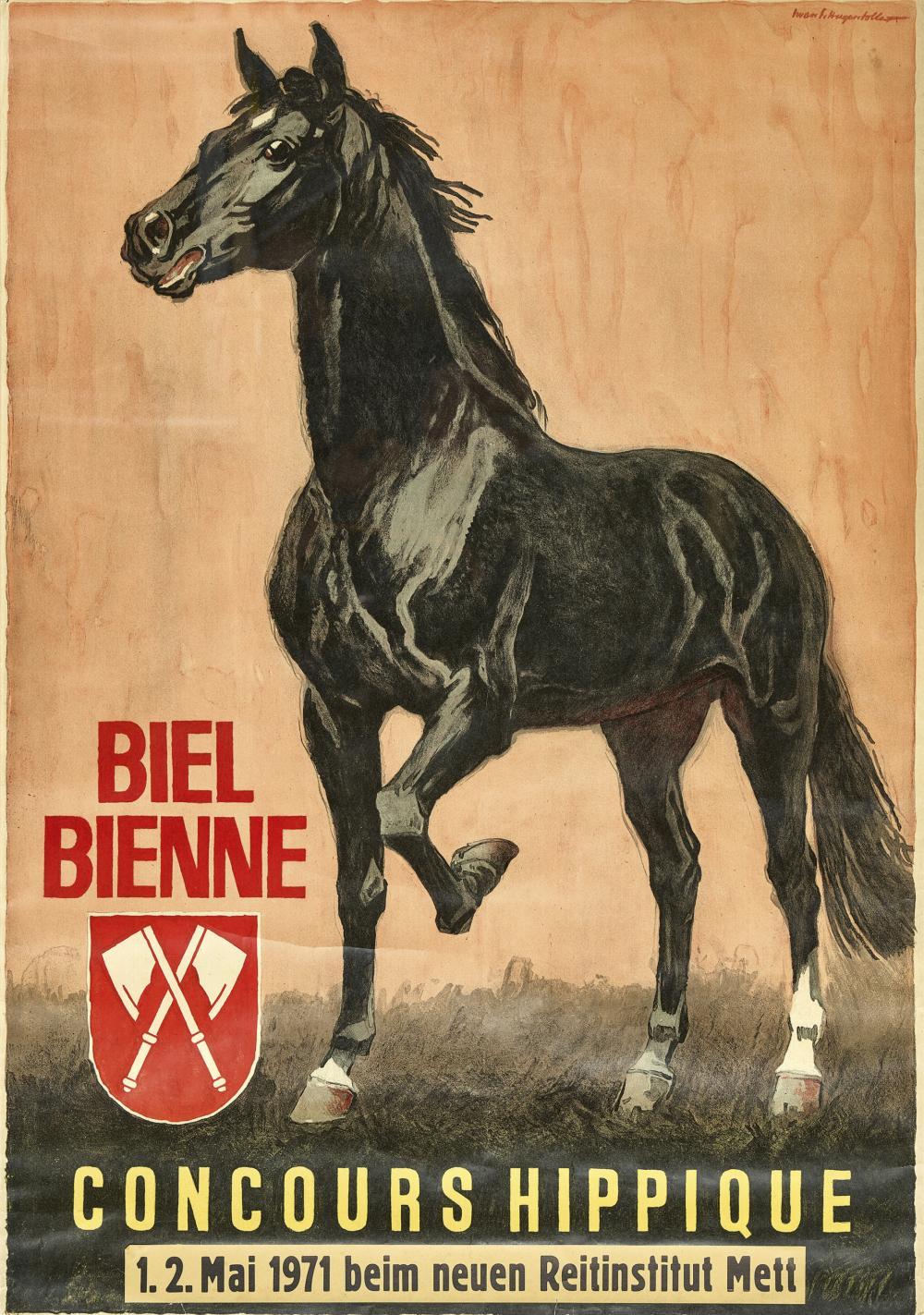 "HUGENTOBLER, IWAN EDWIN: ""Biel Bienne Concours Hippique 1971""."