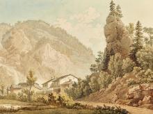 JUILLERAT, JACQUES HENRI: Alpine Ansicht mit Häusern.