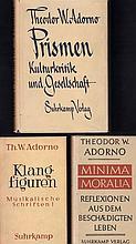 Theodor W. Adorno - Konvolut. 3 Erstausgaben