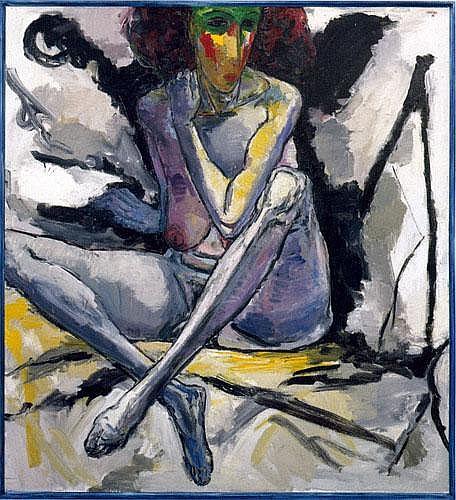 Hubertus Giebe (*1953): Sitzender Akt mit angewinkelten Beinen