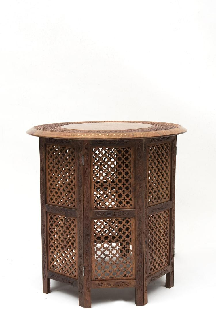 Table th indienne octogonale ajour e plateau circulaire for Table exterieur octogonale