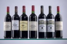 Lot de 7 vins de Saint Julien. Haut-Bages Averous 2001, Léoville Barton 2006, Beychevelle 2009,  Clos du Marquis 2005