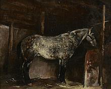Emile Bressler (1886-1966, CH), Le cheval dans l'écurie.