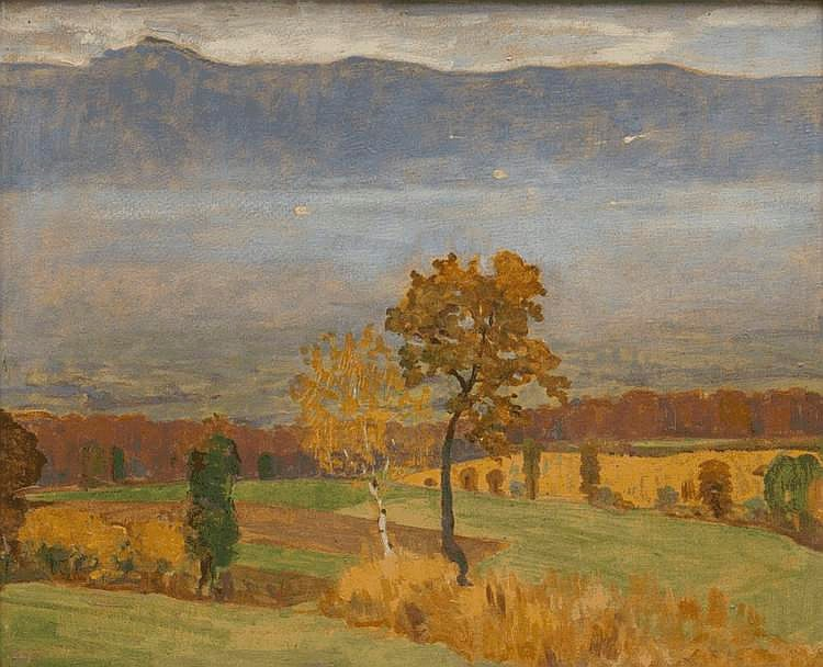huile sur carton de Jules Courvoisier (1884-1936, CH),