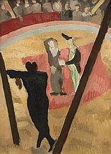 """huile sur toile par Charles Monnier (1925-1993) """"Clown de cirque"""" sbg."""