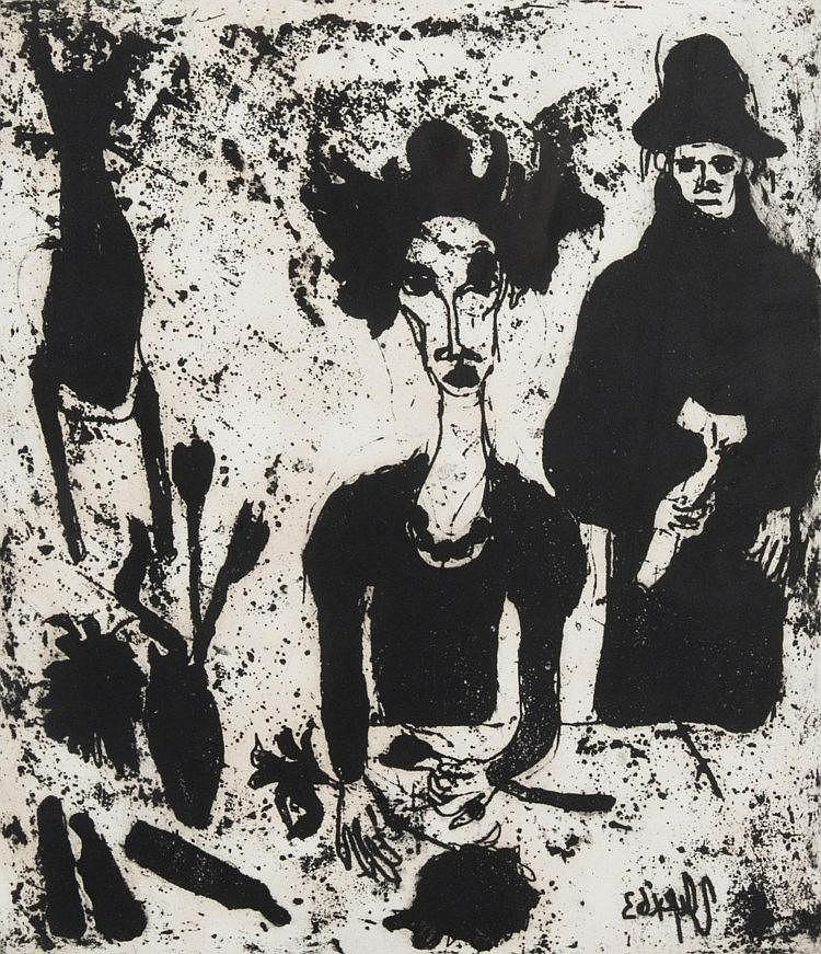 eau-forte en noir de Jacqueline Oyex (née en 1931)