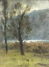 """huile sur carton de Abraham Hermanjat (CH-1862-1932) """"Plaine du Rhône"""" sbg."""