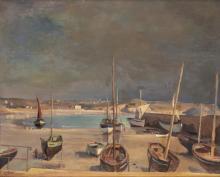 "Emile Bressler (1886-1966), ""Bord de mer avec bateaux""."