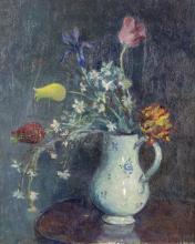 """Emile Bressler (1886-1966, CH), """"Nature morte aux tulipes""""."""