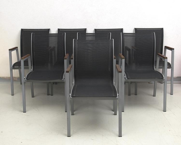 Ensemble de 8 fauteuils empilables de salon de jardin en résine et ...