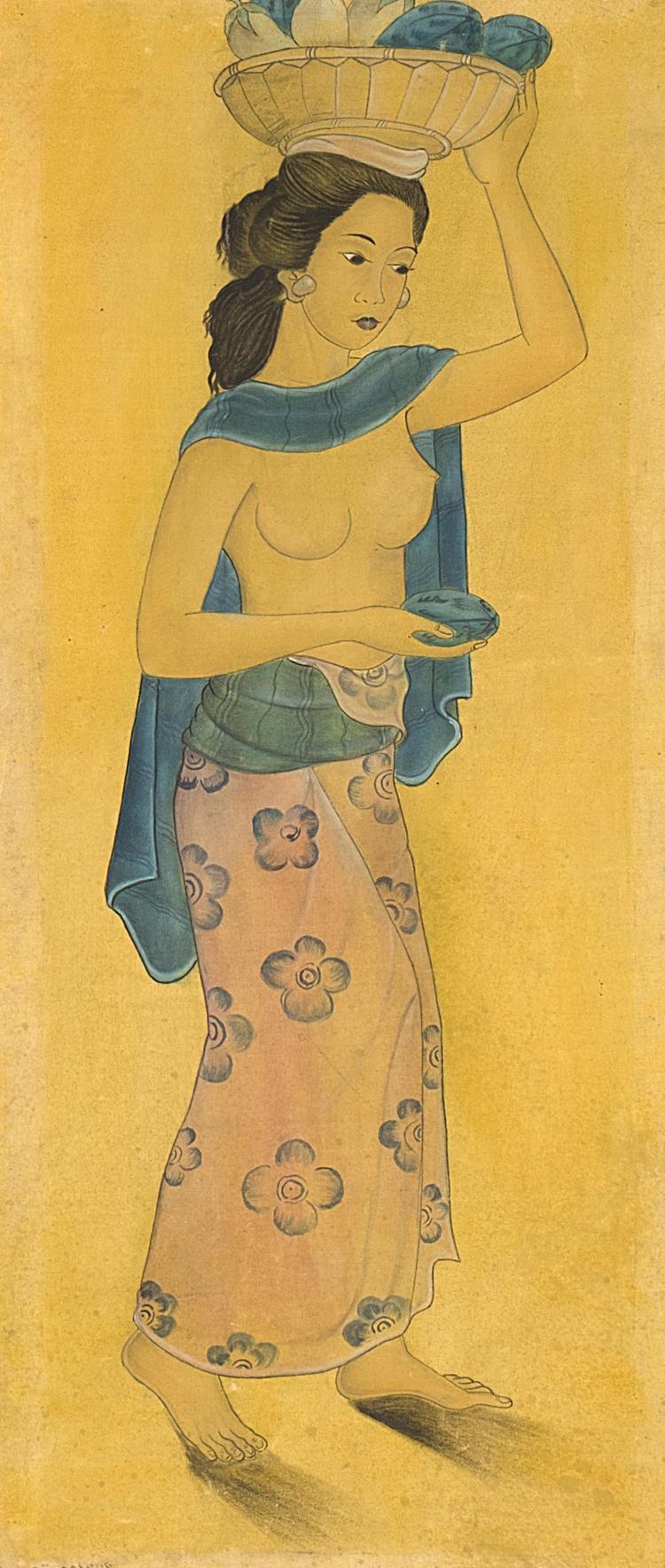 Peinture indon sienne sur toile de coton d 39 une jeune femme p for Peinture sur toile