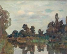 """Emile Bressler (1886-1966), """"Paysage avec étang"""""""