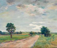 """Emile Bressler (1886-1966) """"Paysage de campagne""""."""
