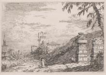 """Giovanni Antonio CANAL (dit CANALETTO, 1697-1768) """"Paesaggio con torre e pilastri in rovina"""""""