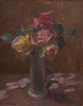 "Abraham HERMANJAT (1862-1932) ""Nature morte aux roses"""