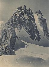 tirage argentique original noir et blanc d'époque par Frédéric BOISSONNAS (1858-1946, CH), 'Aiguilles dorées' (Valais),  signé au crayon bd.