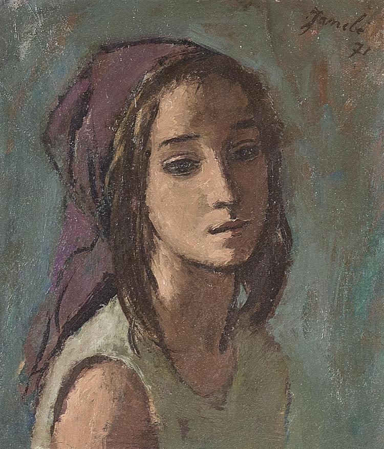 huile sur carton de Jeanne Baraud-Pellet JANEBÉ (1907-2000, CH) 'Portrait de jeune fille au fichu' shd et datée 1971