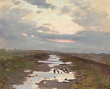 huile sur toile de Lothar VON SEEBACH (1853-1930, D) 'Paysage après la pluie' sbd