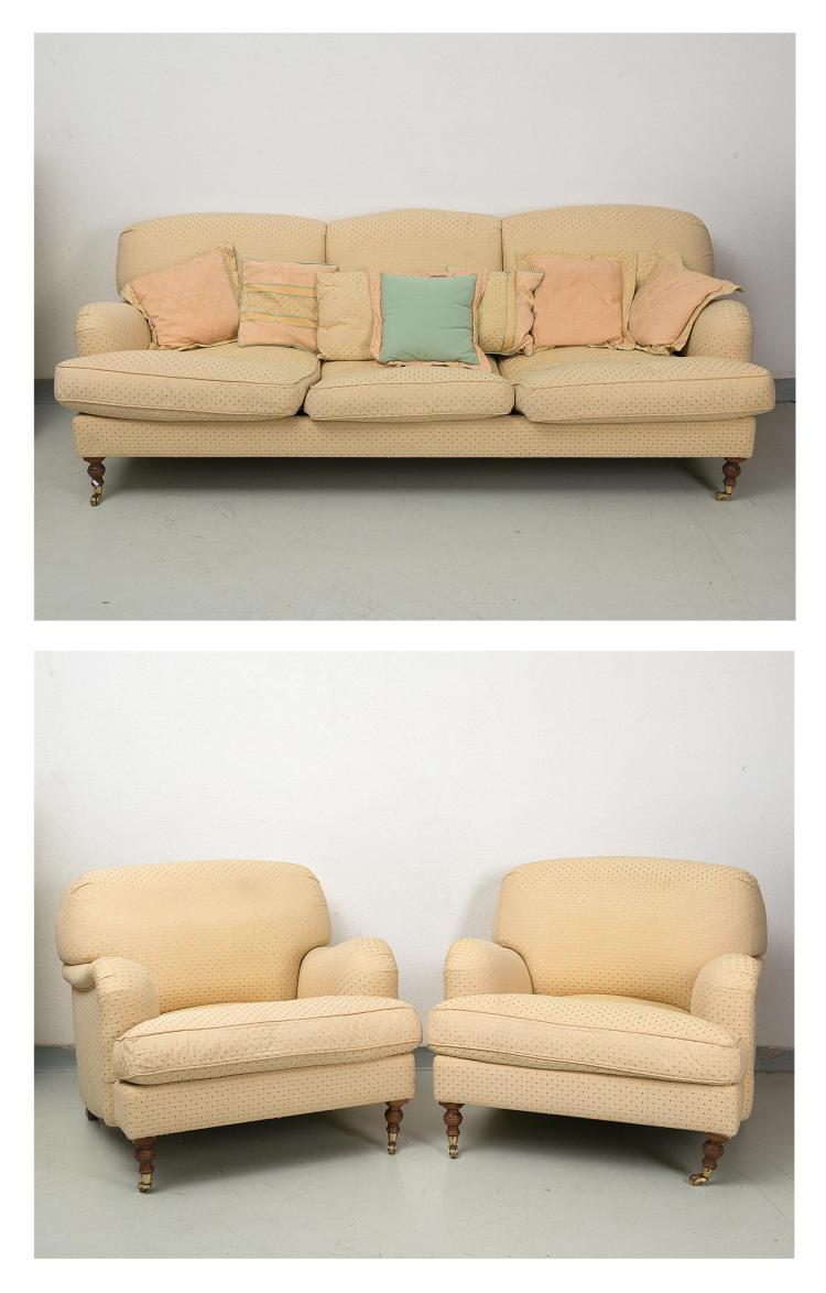Canap 3 places et 2 fauteuils pieds castor feet avant e - Canape h et h ...